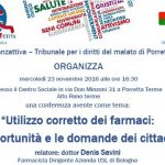 """Conferenza: """"Utilizzo corretto dei farmaci:  le opportunità e le domande dei cittadini"""" a Porretta"""