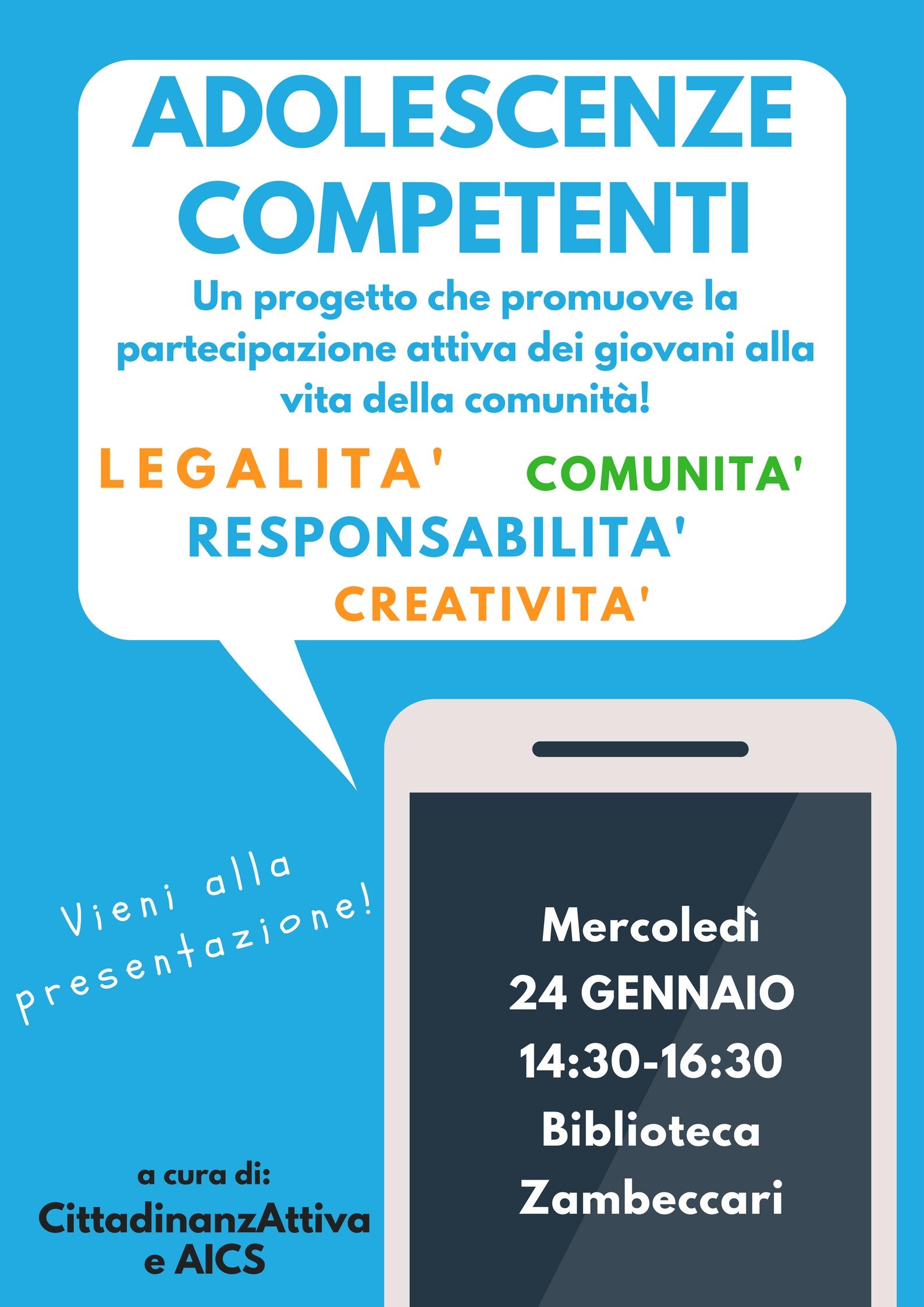 Invito alla presentazione progetto Adolescenze competenti